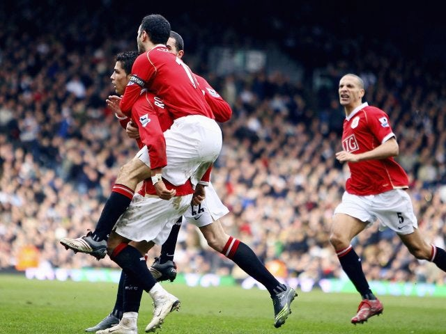 Cristiano Ronaldo celebrates his late winner for Manchester United at Fulham on February 24, 2007.