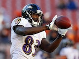 Wide receiver Deonte Thompson #83 of the Baltimore Ravens catches a pass before their game against the Cleveland Browns at FirstEnergy Stadium on November 3, 2013