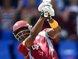 Dwayne Bravo of the West Indies bats during the 1st One Day International between West Indies and England at Sir Viv Richards Cricket Ground on February 28, 2014