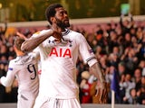 Tottenham's Emmanuel Adebayor celebrates after scoring his team's second goal against Dnipro during their Europa League match on February 27, 2014