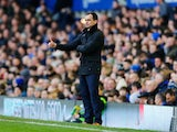 Roberto Martinez, manager of Everton gives the thumbs up during the Barclays Premier League match between Everton and West Ham United at Goodison Park on March 1, 2014