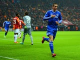 Chelsea's Fernando Torres celebrates after scoring the opening goal against Galatasaray during their Champions League match on February 26, 2014