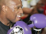 Boxer Floyd Mayweather Jr. works out in front of the media at Mayweather Boxing Gym on April 24, 2012 in Las Vegas, Nevada