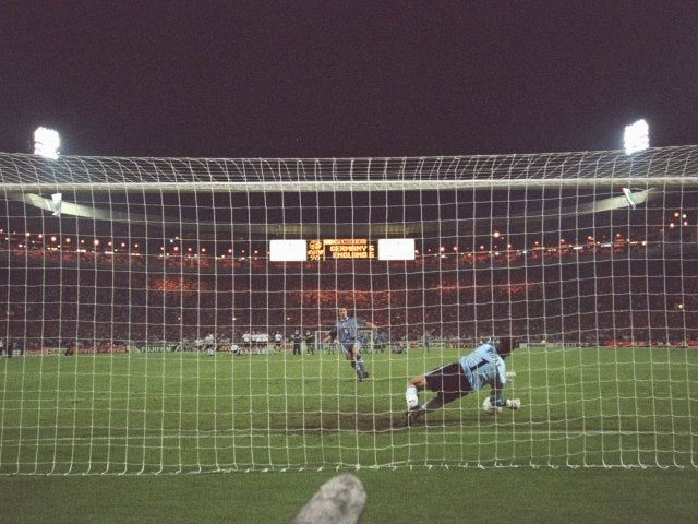 England's Gareth Southgate fails to score his penalty against Germany on June 26, 1996.
