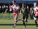 Henry Trinder of Gloucester breaks clear for a try during the Aviva Premiership match between Northampton Saints and Gloucester at Franklin's Gardens on March 1, 2014