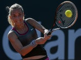 Klara Zakopalova of the Czech Republic returns the ball to Kurumi Nara of Japan during the 2014 Rio Open women's singles final tennis match in Rio de Janeiro, Brazil, on February 23, 2014