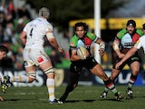 Maurie Fa'asavalu of Harlequins takes on the Worcester Warriors defence during the Aviva Premiership match on March 1, 2014