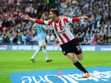 Fabio Borini of Sunderland celebrates scoring the opening goal during the Capital One Cup Final between Manchester City and Sunderland at Wembley Stadium on March 2, 2014