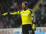 Stoke goalkeeper Thomas Sorensen in action during the Barclays Premier League match between Newcastle United and Stoke City at St James' Park on December 26, 2013