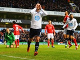 Roberto Soldado of Tottenham Hotspur celebrates scoring the opening goal during the Barclays Premier League match between Tottenham Hotspur and Cardiff City at White Hart Lane on March 2, 2014
