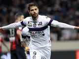 Toulouse's Israeli forward Eden Ben Basat celebrates after scoring a goal during the French L1 football match between Nice (OGCN) and Toulouse (TFC) on March 1, 2014