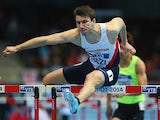 Great Britain's Andrew Pozzi competes in the Men's 60m Hurdles heats during the IAAF World Indoor Championships on March 8, 2014