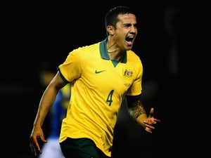 Tim Cahill of Australia celebrates his goal during the International Friendly match between Australia and Ecuador at The Den on March 5, 2014