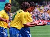 Brazil's Bebeto celebrates his World Cup goal against Holland on June 24, 1994.
