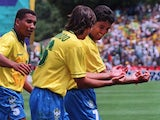 Brazil's Bebeto celebrates his World Cup goal against Holland on June 24, 1994.