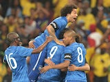 Brazil's players celebrates after scoring a goal during a friendly football match between South Africa and Brazil at Soccer City stadium in Soweto, outside Johannesburg, on March 5, 2014