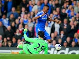 Samuel Eto'o of Chelsea goes down following a collision with goalkeeper Hugo Lloris of Spurs during the Barclays Premier League match between Chelsea and Tottenham Hotspur at Stamford Bridge on March 8, 2014