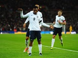 Daniel Sturridge of England celebrates his goal during the International Friendly match between England and Denmark at Wembley Stadium on March 5, 2014