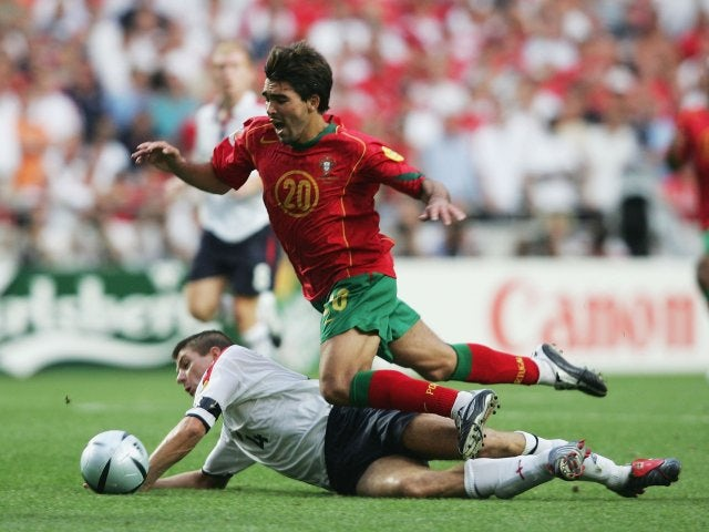 Deco takes the ball away from Steven Gerrard during Portugal vs. England on June 24, 2004.