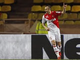Monaco's Dimitar Berbatov celebrates after scoring the opening goal against Sochaux during their Ligue 1 match on March 8, 2014