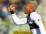 Parma's Jonathan Biabiany celebrates after scoring the opening goal against Hellas Verona during their Serie A match on March 9, 2014