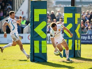 Exeter's Luke Arscott scores a try against Bath in their LV= Cup Semi Final match on March 9, 2014