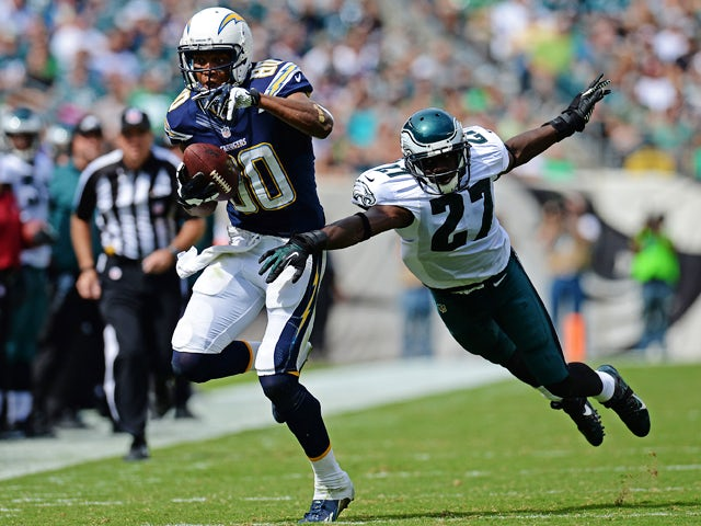 Wide receiver Malcom Floyd #80 of the San Diego Chargers catches a pass past cornerback Brandon Hughes #27 of the Philadelphia Eagles in the second quarter at Lincoln Financial Field on September 15, 2013