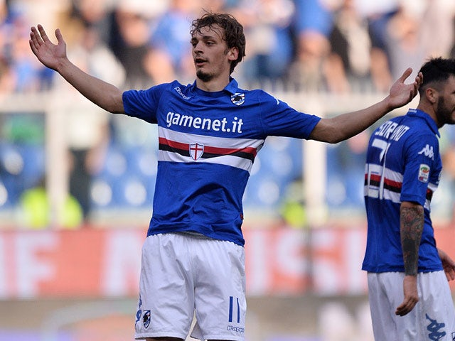 Sampdoria's Manolo Gabbiadini celebrates after scoring his team's fourth goal against Livorno during their Serie A match on March 9, 2014