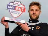 Wolves' Michael Jacobs with his February Player of the Month award on March 6, 2014