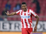Michael Olaitan of Olympiacos in action during the Greek Superleague match between Olympiacos and Levadiakos at the Georgios Karaiskakis Stadium on January 18, 2014