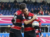 Ravel Morrison of Queens Park Rangers celebrates his goal with Gary O'Neil of Queens Park Rangers during the Sky Bet Championship match between Birmingham City and Queens Park Rangers at St Andrews Stadium on March 8, 2014