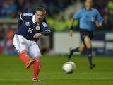 Ross McCormack of Scotland scores their third goal during the International Friendly match between Scotland and Australia at Easter Road on August 15, 2012
