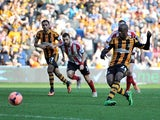 Hull's Sone Aluko misses a penalty against Sunderland during their FA Cup quarter-final match on March 9, 2014