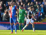 Jay Rodriguez of Southampton celebrates as he scores their first goal during the Barclays Premier League match between Crystal Palace and Southampton at Selhurst Park on March 8, 2014
