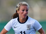 Toni Duggan of England runs with the ball during the friendly match between England and Norway at la Manga Club on January 17, 2014