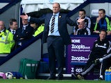 Pepe Mel manager of West Bromwich Albion reacts during the Barclays Premier League match between West Bromwich Albion and Manchester United at The Hawthorns on March 8, 2014