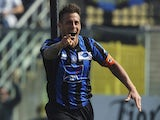 German Gustavo Denis of Atalanta BC celebrates his goal during the Serie A match between Atalanta BC and UC Sampdoria at Stadio Atleti Azzurri d'Italia on March 16, 2014