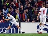 Craig Bellamy celebrates scoring for Liverpool against Barcelona on February 21, 2007.