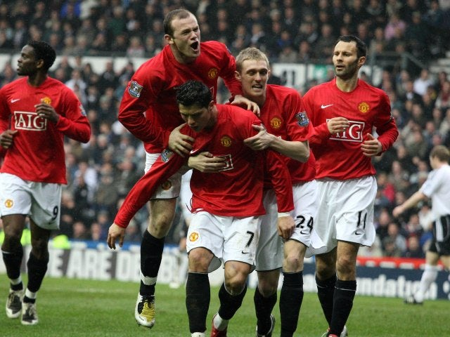 60c3395cc37fc Cristiano Ronaldo and his Manchester United teammates celebrate his goal  against Derby County on March 15