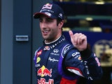 Daniel Ricciardo of Red Bull gives the thumbs up after finishing second during qualifying for the Australian Formula One Grand Prix on March 15, 2014
