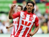 Melbourne Heart's David Williams celebrates after scoring his team's third goal against Wellington Phoenix during the A-League match on March 16, 2014