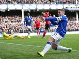 Gerard Deulofeu of Everton celebrates after scoring the first goal during the Barclays Premier League match between Everton and Cardiff City at Goodison Park on March 15, 2014