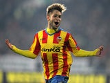 Valencia's Fede Cartabia celebrates after scoring his team's second goal against Ludogorets during their Europa League match on March 13, 2014