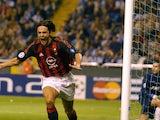 Filippo Inzaghi celebrates scoring for AC Milan against Deportivo on September 24, 2002.