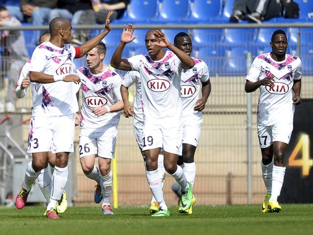 5c19bb88d9a Bordeaux s Henrique celebrates with teammates after scoring against  Montpellier in the Ligue 1 match on March