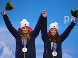 Jade Etherington and Guide Caroline Powell of Great Britain celebrates winning Silvier in the Women's Slalom - Visually Impaired on March 12, 2014