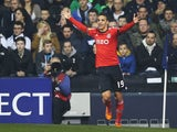 Benfica's Rodrigo Moreno celebrate after scoring the opening goal against Tottenham during their Europa League match on March 13, 2014
