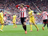 Fabio Borini of Sunderland rues a missed chance during the Barclays Premier League match between Sunderland and Crystal Palace at The Stadium of Light on March 15, 2014