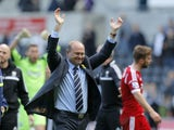 West Bromwich Albion manager Pepe Mel celebrates his sides victory during the Barclays Premier League match between Swansea City and West Bromwich Albion at The Liberty Stadium on March 15, 2014