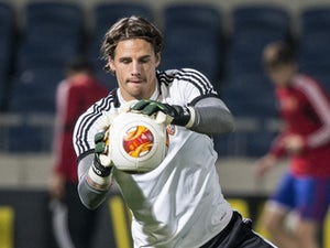 Swiss FC Basels goalkeeper Yann Sommer takes part in a training session at the Bloomfield Stadium in the Mediterranean coastal city of Tel Aviv on February 19, 2014